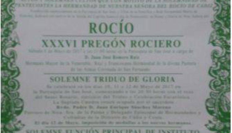 Hermandad de Cádiz – Solemne Triduo y XXXVI Pregón Rociero