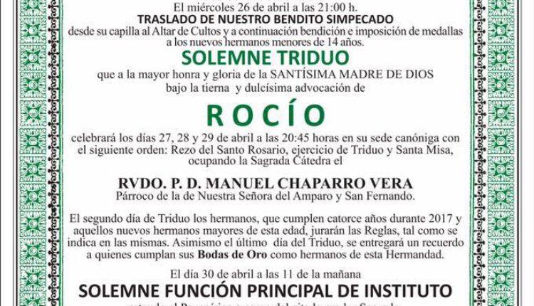 Hermandad de Dos Hermanas – Solemne Triduo y Pregón  a cargo de D. Manuel García Monje