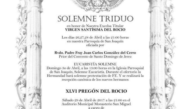 Hermandad del Puerto de Santa María – Solemne Triduo y XLVI Pregón del Rocío