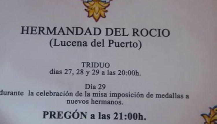 Hermandad de Lucena del Puerto – Solemne Triduo y Pregón Rociero a cargo de Doña Lali Moro Regidor
