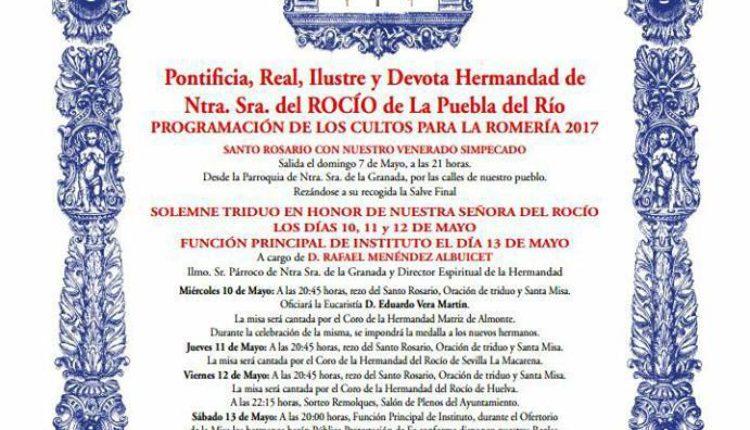 Hermandad de La Puebla – Solemne Triduo y LXXXII Pregón Rociero a cargo de D. Buenaventura Ruiz Sobrino