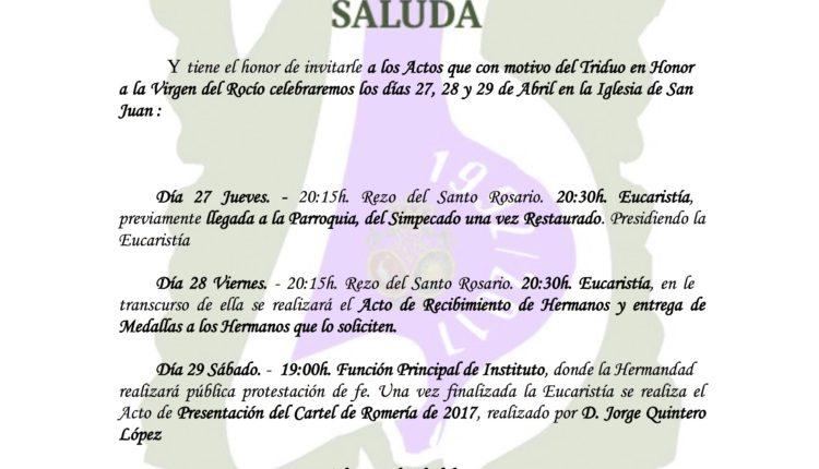 Hermandad de Málaga.La Caleta – Solemne Triduo y Presentación del Cartel Romería 2017