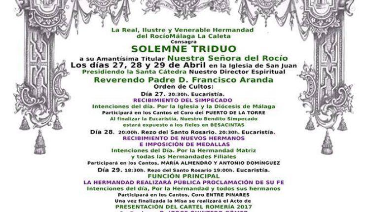 Hermandad de Málaga -La Caleta – Solemne Triduo y Pregón a cargo de D. Francisco Fernández Rodríguez