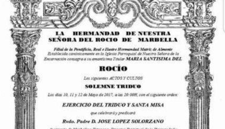 Hermandad de Marbella – Solemne Triduo 2017 y XXXIII Pregón Rociero