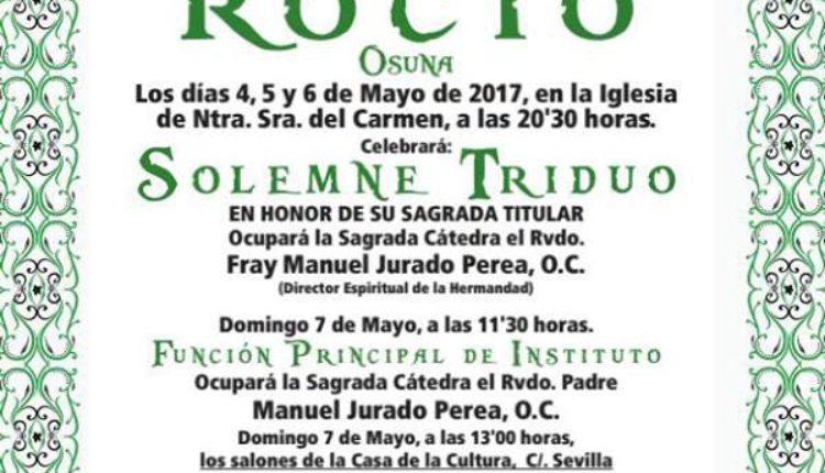 Hermandad de Osuna – Solemne Triduo y XXX Pregón del Rocío a cargo de D. José Luis Tirado Morilla