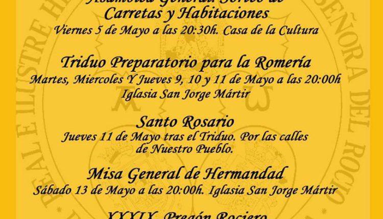 Hermandad de Palos de la frontera – Solemne Triduo y XXXIX Pregón Rociero a cargo de D. Francisco José Fernández Moreno
