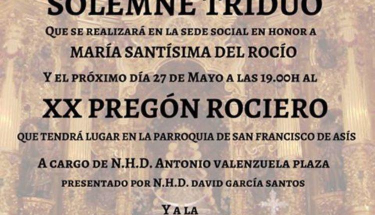 Hermandad de Sabadell – Solemne Triduo 2017 y Pregón Rociero a cargo de D. Antonio Valenzuela Plaza
