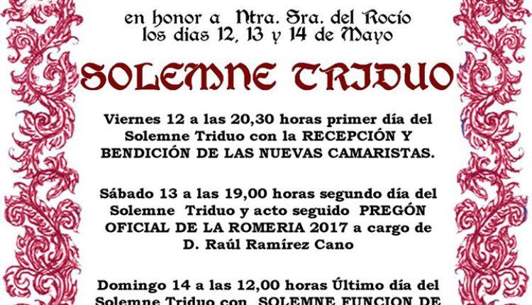 Hermandad de Valencia – Solemne Triduo 2017 y Pregón del Rocío a cargo de D. Raul Ramírez Cano