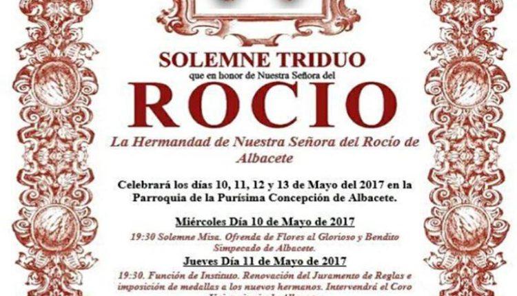 Hermandad de Albacete – Solemne Triduo  los días 10,11 y 12 de mayo de 2017