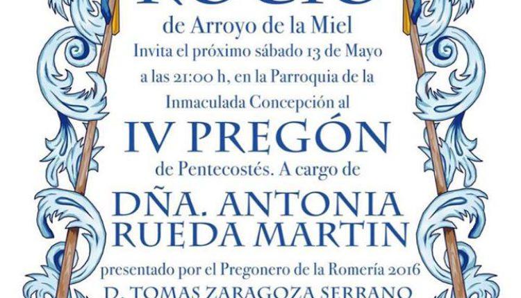 Hermandad de Arroyo de la Miel – IV Pregón del Rocío 2017 a cargo de Doña Antonia Rueda Martín