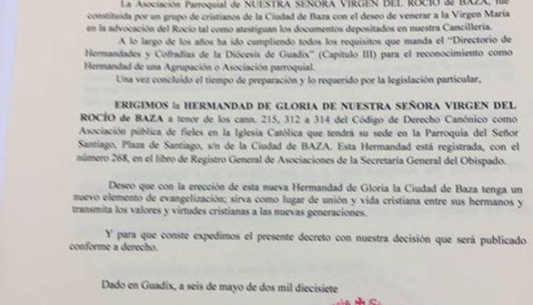La Asociación Virgen del Rocío de Baza ya es HERMANDAD