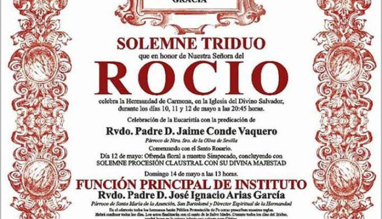 Hermandad de Carmona – Solemne Triduo y XXVII Pregón Rociero a cargo de D. José Portillo Valverde