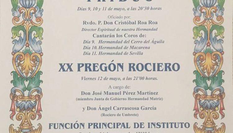 Hermandad Castrense – Solemne Triduo y XX Pregón Rociero a cargo de D. José Manuel Pérez Martínez