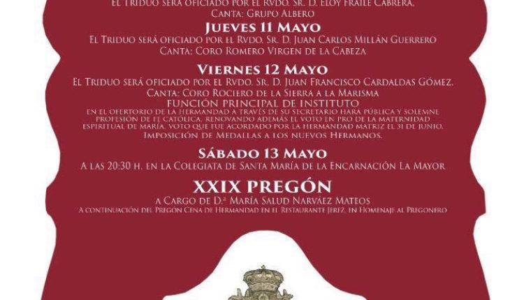 Hermandad de Ronda – Solemne Triduo y XXIX Pregón Rociero a cargo de Doña Mª Salud Narváez