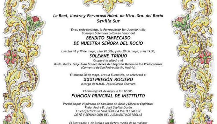 Hermandad de Sevilla Sur – Solemne Triduo y XXXI Pregón a cargo de D. Jesús García Chamizo