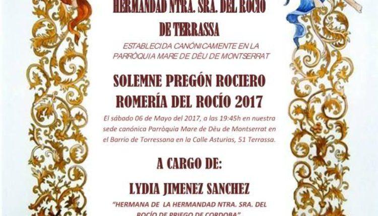 Hermandad de Terrassa – Pregón Rociero a cargo de Lydia Jimenez Sanchez