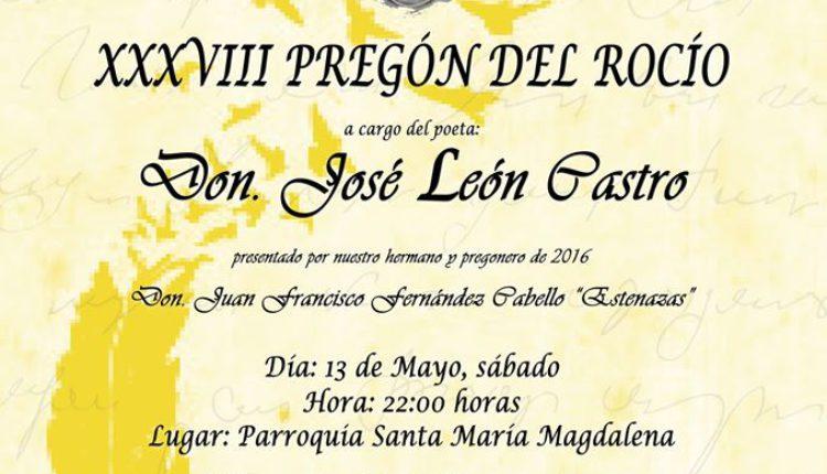 Hermandad de Villamanrique – XXXVIII Pregón del Rocío a cargo de D. José León Castro y I Pregón Joven