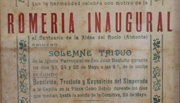 Hermandad de Gibraleón – Cartel de la Romería Inaugural al Rocío en 1941