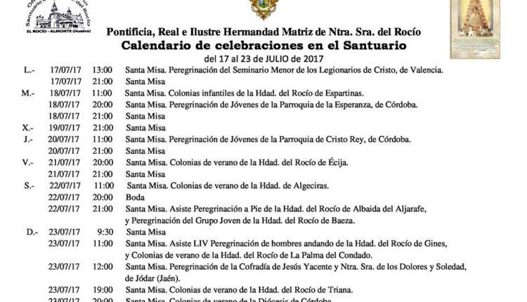 Calendario de Celebraciones en el Santuario del Rocío del 17 al 23 de julio de 2017