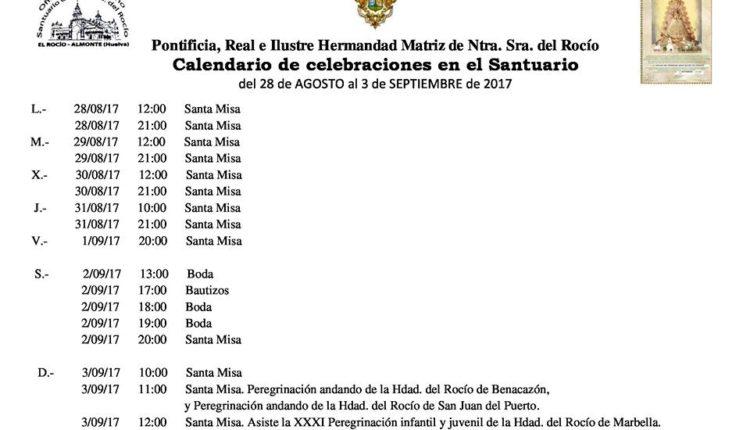 Calendario de Celebraciones en el Santuario del Rocío del 28 de agosto al 3 de septiembre de 2017