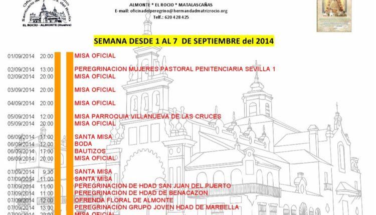 Calendario de Celebraciones en el Santuario del Rocío del 1 al 7 de septiembre de 2017