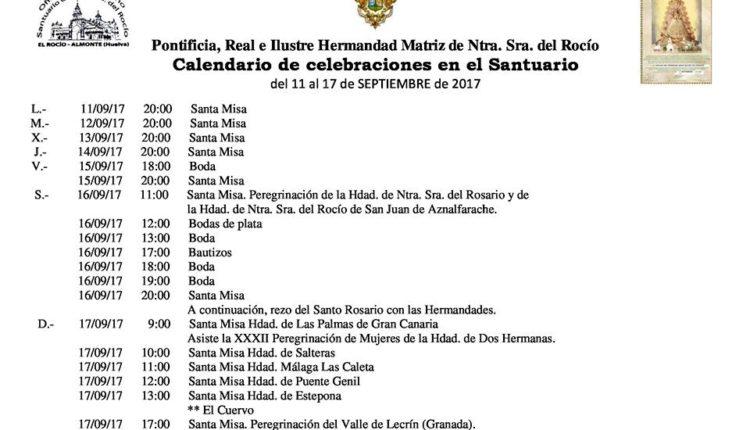 Calendario de Celebraciones en el Santuario del Rocío del 11 al 17 de septiembre de 2017