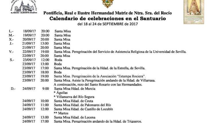 Calendario de Celebraciones en el Santuario del Rocío del 18 al 24 de septiembre de 2017