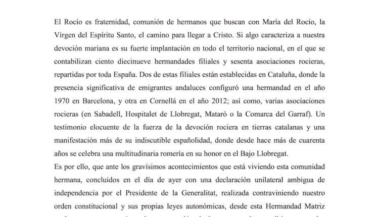 Cataluña – Comunicado de la Hermandad Matriz