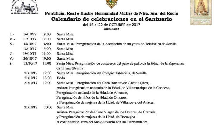 Calendario de Celebraciones en el Santuario del Rocío del 16 al 22 de octubre de 2017