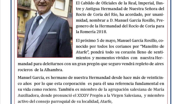 Hermandad de Coria – D. Manuel García Rosillo, Pregonero del Rocío 2018
