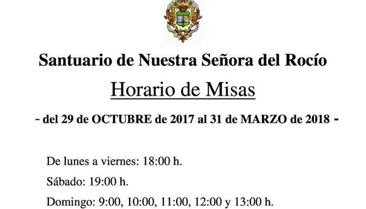 Santuario del Rocío – Horario de Misas del 29 de octubre de 2017 al 31 de marzo de 2018