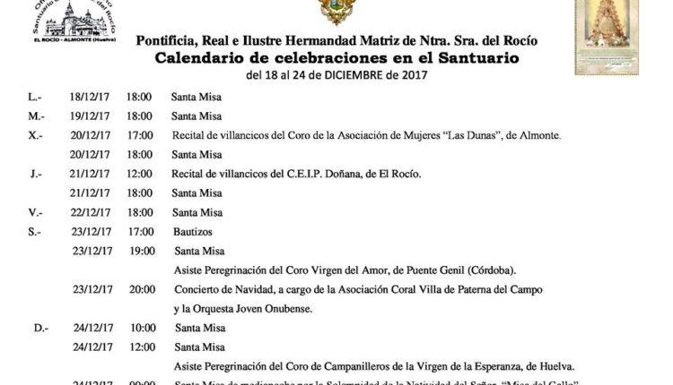Calendario de Celebraciones en el Santuario del Rocío del 18 al 24 de diciembre de 2017