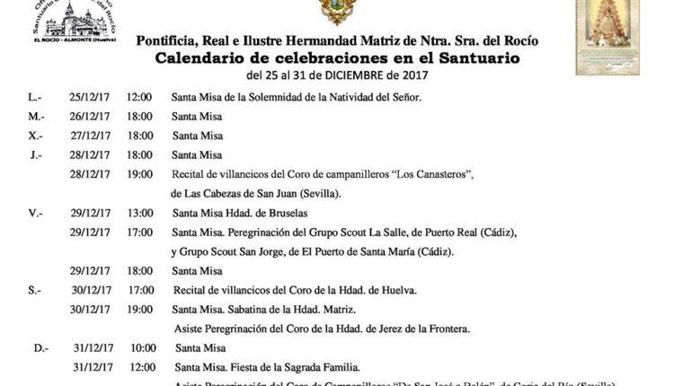 Calendario de Celebraciones en el Santuario del Rocío del 24 al 31 de diciembre de 2017