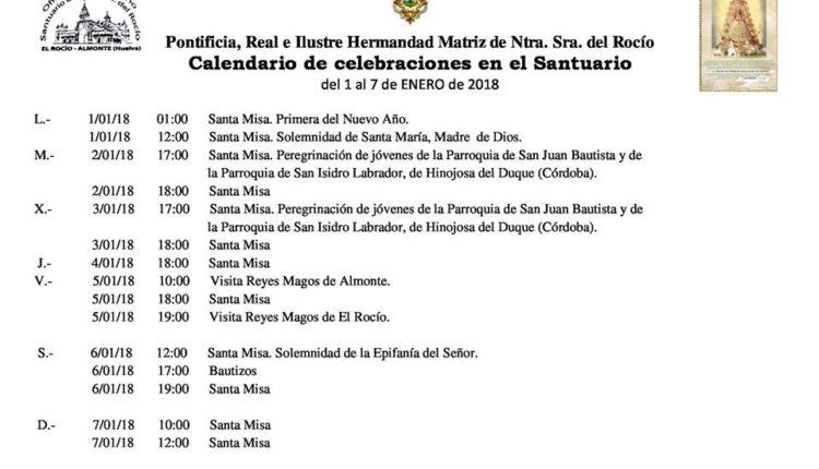 Calendario de Celebraciones en el Santuario del Rocío del 1 al 7 de enero de 2018