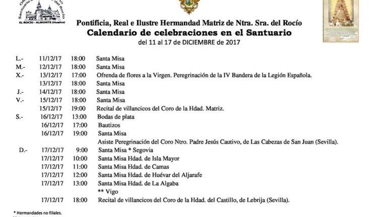 Calendario de Celebraciones en el Santuario del Rocío del 11  al 17 de diciembre de 2017
