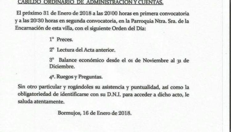 Hermandad de Bormujos – Cabildo Ordinario de Admon. de Cuentas