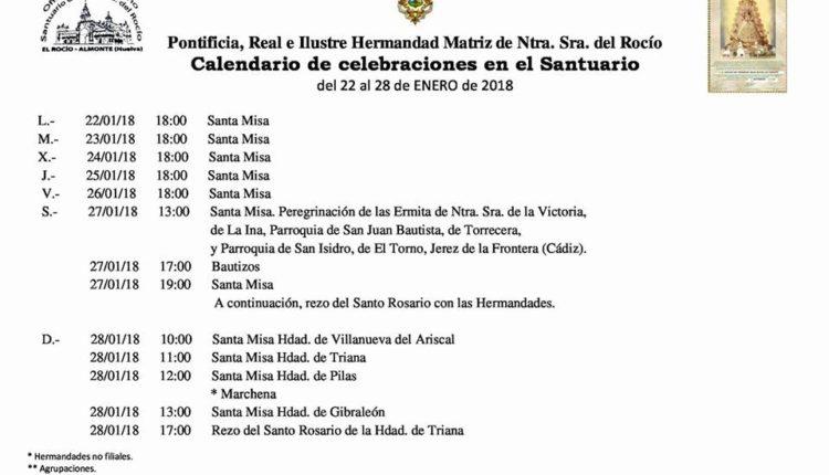 Calendario de Celebraciones en el Santuario del Rocío del 22 al 28 de enero de 2018