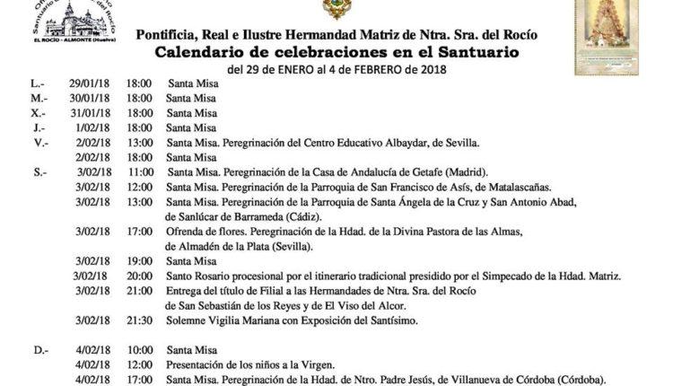 Calendario de Celebraciones en el Santuario del Rocio del 29 de enero al 4 de febrero de 2018