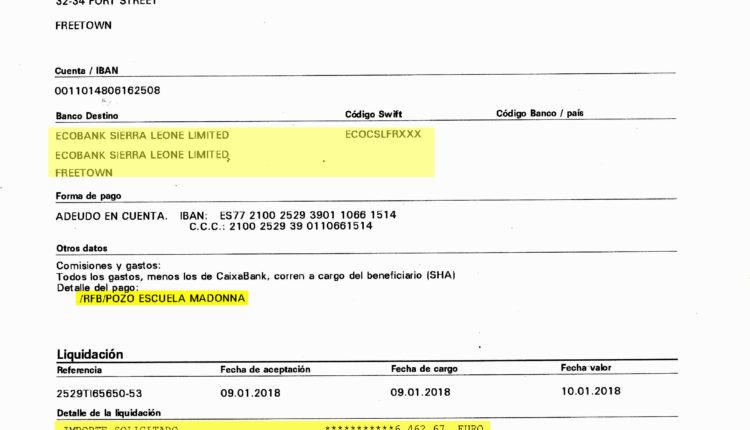 Transferencia del dinero recaudado en la Ofenda del Foro del Rocío a Sierra Leona