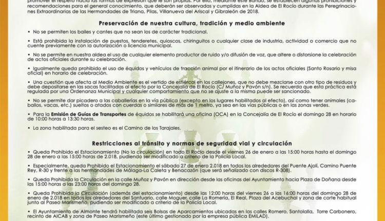 Bando peregrinaciones extraordinarias de las hermandades de Triana, Pilas, Villanueva del Ariscal y Gibraleón de 2018 imagen bando 2018