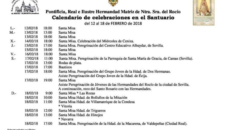 Calendario de Celebraciones en el Santuario del Rocío del 12 al 18 de febrero de 2018