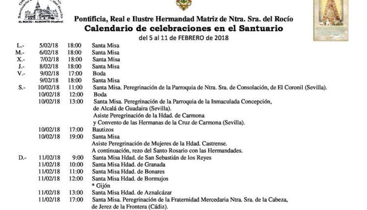 Calendario de Celebraciones en el Santuario del Rocío del 5 al 11 de febrero de 2018