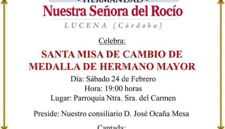 Hermandad de Lucena de Córdoba – Cambio Medalla Hermano Mayor