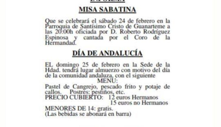 Hermandad de Las Palmas – Misa Sabatina y Día de Andalucía