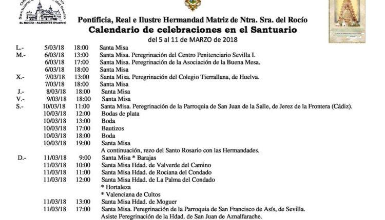 Calendario de Celebraciones en el Santuario del Rocio del 4 al 11 de marzo de 2018