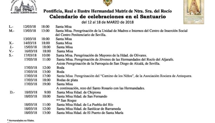 Calendario de Celebraciones en el Santuario del Rocío del 12 al 18 de marzo de 2018