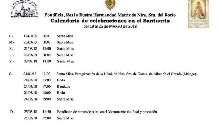 Calendario de Celebraciones en el Santuario del Rocío del 19 al 25 de marzo de 2018