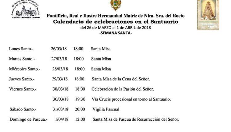 Calendario de Celebraciones en el Santuario del Rocío del 26 de marzo al 1 de abril de 2018