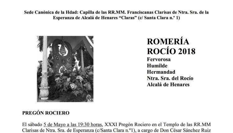 Hermandad de Alcalá de Henares – Solemnes Cultos en Honor de Ntra Sra. la Virgen del Rocío 2018