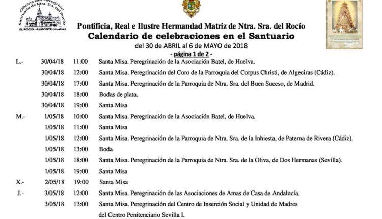 Calendario de Celebraciones en el Santuario del Rocío del 30 de abril al 6 de mayo de 2018